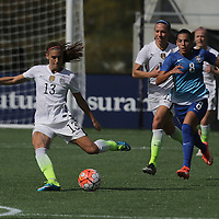 ORLANDO, FL - OCTOBER 25: Alex Morgan #13 of USWNT kicks the ball during a women's international friendly soccer match between Brazil and the United States at the Orlando Citrus Bowl on October 25, 2015 in Orlando, Florida. The United States won the match 3-1. (Photo by Alex Menendez/Getty Images) *** Local Caption *** Alex Morgan