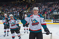 KELOWNA, CANADA - APRIL 26: Nolan Foote #29 and Nick Merkley #10 of the Kelowna Rockets celebrate a first period goal against the Seattle Thunderbirds on April 26, 2017 at Prospera Place in Kelowna, British Columbia, Canada.  (Photo by Marissa Baecker/Shoot the Breeze)  *** Local Caption ***