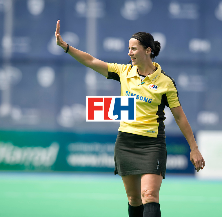 Umpire Michelle Joubert during their Women's Champions Trophy game at Highfields, Beeston, Nottingham, 15th July 2010.