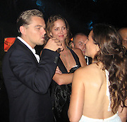 Leonardo DiCaprio with Leslie and a friend.Vanity Fair Party at Hotel Du Cap .2007 Cannes Film Festival .Cap D' Antibes, France .Saturday, May 19, 2007.Photo By Celebrityvibe; .To license this image please call (212) 410 5354 ; or.Email: celebrityvibe@gmail.com ;