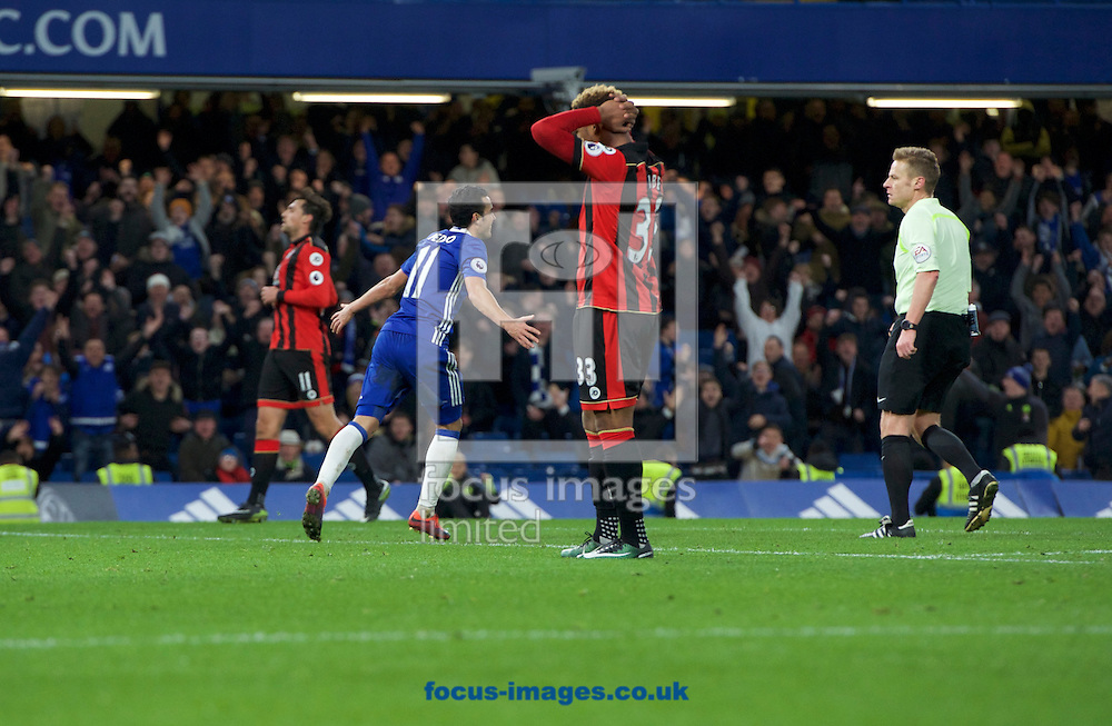 Pedro of Chelsea celebrates after scoring his side's 3rd goal and his second to make it 3-0 during the Premier League match at Stamford Bridge, London<br /> Picture by Alan Stanford/Focus Images Ltd +44 7915 056117<br /> 26/12/2016