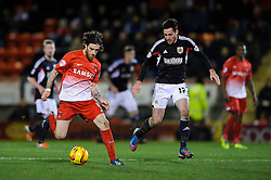 Leyton Orient Midfielder Romain Vincelot (FRA) is challenged by Bristol City Defender Greg Cunningham (IRL) - Photo mandatory by-line: Rogan Thomson/JMP - 07966 386802 - 11/02/2014 - SPORT - FOOTBALL - The Matchroom Stadium, London - Leyton Orient v Bristol City - Sky Bet Football League 1.