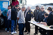 28 JANUARY 2010 -- BUCKEYE, AZ: Undocumented immigrant inmates from Lewis Prison are processed and transferred to federal ICE control Thursday. The Arizona Department of Corrections transferred 51 undocumented immigrant inmates from state control to the Immigration and Customs Enforcement at Lewis Prison in Buckeye Thursday morning. The inmates have less than 90 days left on their sentences and will be deported to their countries of origin when they finish their prison terms.   PHOTO BY JACK KURTZ