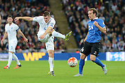 England midfielder James Milner gets in a shot during the Group E UEFA European 2016 Qualifier match between England and Estonia at Wembley Stadium, London, England on 9 October 2015. Photo by Alan Franklin.