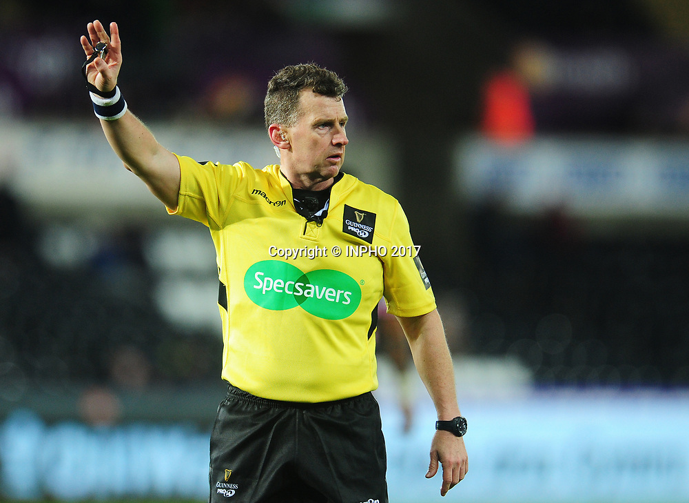 Guinness PRO14, Liberty Stadium, Swansea, Wales 6/1/2018<br /> Ospreys vs Cardiff Blues<br /> Referee Nigel Owens<br /> Mandatory Credit &copy;INPHO/CameraSport/Kevin Barnes