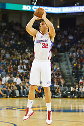 October 29, 2010; Oakland, CA, USA;  Los Angeles Clippers power forward Blake Griffin (32) shoots a jump shot against the Golden State Warriors during the first quarter at Oracle Arena.
