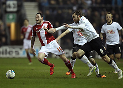 Derby County's Richard Keogh fouls Middlesbrough's Lee Tomlin - Photo mandatory by-line: Robbie Stephenson/JMP - Mobile: 07966 386802 - 17/03/2015 - SPORT - Football - Derby - iPro Stadium - Derby County v Middlesbrough - Sky Bet Championship