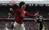 Photo: Paul Thomas.<br /> Manchester United v Charlton Athletic. The Barclays Premiership. 10/02/2007.<br /> <br /> Ji-sung Park celebrates his goal for Man Utd.