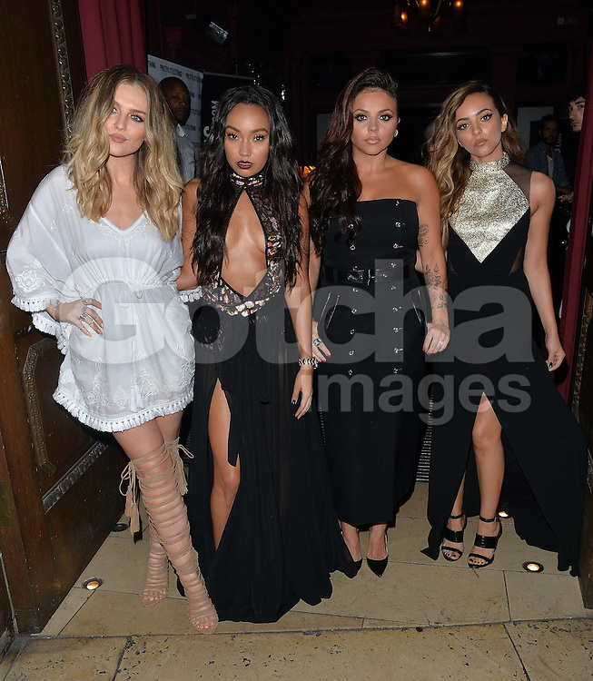 Perrie Edwards, Leigh-Anne Pinnock, Jesy Nelson and Jade Thirlwall arriving at the Little Mix 'Black Magic' party at Steam & Rye in London, UK. 20/07/2015<br />