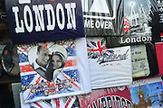 Kate and William t-shirts are seen on display in London days before their wedding, April 26, 2011.  The Royal Wedding of Prince William and Kate Middleton will take place on April 29th, 2011.  UPI/Kevin Dietsch