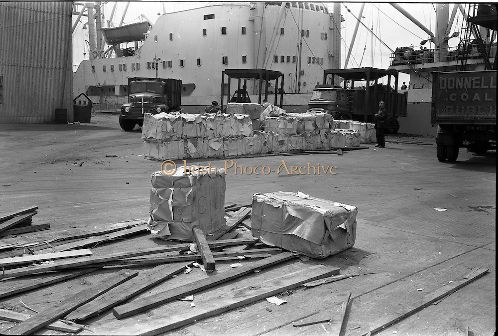 15/06/1963<br /> 06/15/1963<br /> 15 June 1963<br /> Bales of wood-pulp at Ocean Pier, Dublin Port, special for Clondalkin Paper Mills.