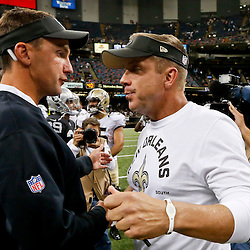 Aug 16, 2013; New Orleans, LA, USA; New Orleans Saints head coach Sean Payton and Oakland Raiders head coach Dennis Allen shake hands following a preseason game at the Mercedes-Benz Superdome. The Saints defeated the Raiders 28-20. Mandatory Credit: Derick E. Hingle-USA TODAY Sports
