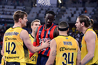 Baskonia's Ilimane Diop and Iberostar Tenerife's Aaron Doornekamp, David White and Georgios Bogris during Quarter Finals match of 2017 King's Cup at Fernando Buesa Arena in Vitoria, Spain. February 16, 2017. (ALTERPHOTOS/BorjaB.Hojas)