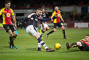 Dundee&rsquo;s Marcus Haber fires in a shot  - Dundee v Partick Thistle in the Ladbrokes Scottish Premiership at Dens Park, Dundee.Photo: David Young<br /> <br />  - &copy; David Young - www.davidyoungphoto.co.uk - email: davidyoungphoto@gmail.com