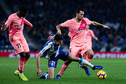 December 8, 2018 - Barcelona, BARCELONA, Spain - 05 Sergio Busquets of FC Barcelona and 11 Ousmane Dembele of FC Barcelona defended by 21 Marc Roca of RCD Espanyol during the Spanish championship La Liga football match between RCD Espanyol v FC Barcelona on December 08, 2018 at RCD Stadium stadium in Barcelona, Spain. (Credit Image: © AFP7 via ZUMA Wire)