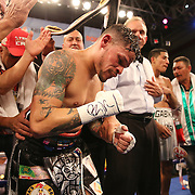 """Orlando """"El Fenomeno""""  Cruz celebrates after defeating Gabino """"Flash"""" Cota during their Boxeo Telemundo WBO/NABO Super Featherweight bout on Friday, October 9, 2015 at the Kissimmee Civic Center in Kissimmee, Florida. Cruz, who is from Puerto Rico, is the first ever openly gay boxer in the history of the sport and won the bout by unanimous decision.  (Alex Menendez via AP)"""