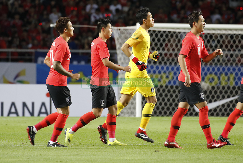 September 7, 2018 - Goyang, Gyeonggi, South Korea - September 7, 2018-Goyang, South Korea-Son Heungmin of South Korea, center left, action on the field during an Football A Match South Korea vs Costa Rica at Goyang Sports Complex in South Korea. Match Won South KOrea, Score by 2-0. (Credit Image: © Ryu Seung-Il/ZUMA Wire)