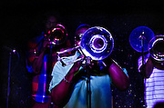 Trombone players of The New Sound Brass Band performing at The Blockley in Philadelphia, PA.