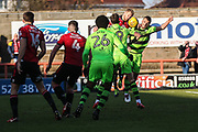 Forest Green Rovers Farrend Rawson(20) toys to get his head to a cross during the EFL Sky Bet League 2 match between Morecambe and Forest Green Rovers at the Globe Arena, Morecambe, England on 17 February 2018. Picture by Shane Healey.