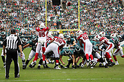 Arizona Cardinals defensive end Rodney Gunter (95) and Arizona Cardinals defensive end Frostee Rucker (92) leap and try to block a 36 yard third quarter field goal good for a 24-7 Philadelphia Eagles lead during the 2017 NFL week 5 regular season football game against the against the Philadelphia Eagles, Sunday, Oct. 8, 2017 in Philadelphia. The Eagles won the game 34-7. (©Paul Anthony Spinelli)