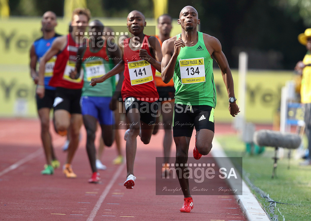 POTCHEFSTROOM, SOUTH AFRICA, Saturday 24 March 2012, Mbulaeni Mulaudzi in the mens 800m during the Yellow Pages Series 2 athletics meeting at the McArthur Stadium..Photo by Roger Sedres/Image SA