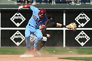 June 14, 2018 - Philadelphia, PA, U.S. - PHILADELPHIA, PA - JUNE 14: Philadelphia Phillies Catcher Andrew Knapp (15) is safe at second during the MLB baseball game between the Philadelphia Phillies and the Colorado Rockies on June 14, 2018 at Citizens Bank Park in Philadelphia, PA. The Phillies won 9-3. (Photo by Andy Lewis/Icon Sportswire) (Credit Image: © Andy Lewis/Icon SMI via ZUMA Press)