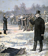 Duel between Georges Clemenceau (1841-1929) French Radical statesman, foreground, and Paul Deroulede (1846-1914) French Right-wing Nationalist politician. From 'Le Petit Journal', Paris', 7 January 1893. France, Honour, Pistol