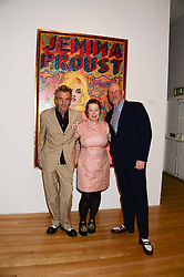 Left to right, KOSMO VINYL, JEMIMA DURY daughter of Ian Dury and JULES BALME curators of the exhibition at a private view of the late Ian Dury's artwork entitled Ian Dury: More Than Fair – Paintings, drawings and artworks, 1961–1972 held at the Royal College of Art, Kensington Gore, London SW7 on 22nd July 2013.