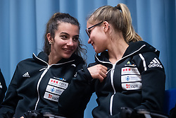 Lucka Rakovec and Vita Lukan during PZS press conference after IFSC Climbing World Championships in Hachioji (JPN) 2019, on August 23, 2019 at Ministry of Education, Science and Sport, Ljubljana, Slovenia. Photo by Grega Valancic / Sportida