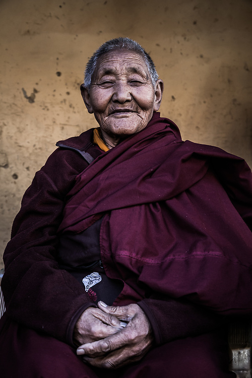 A Tibetan nun in Trongsa, Bhutan