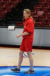 March 18, 2011; Stanford, CA, USA; St. John's Red Storm head coach Kim Barnes Arico during practice the day before the first round of the 2011 NCAA women's basketball tournament at Maples Pavilion.