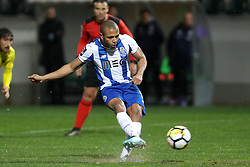 March 11, 2018 - Pacos Ferreira, Pacos Ferreira, Portugal - Porto's Algerian forward Yacine Brahimi scores a penalty kick during the Premier League 2017/18 match between Pacos Ferreira and FC Porto, at Mata Real Stadium in Pacos de Ferreira on March 11, 2018. (Credit Image: © Dpi/NurPhoto via ZUMA Press)