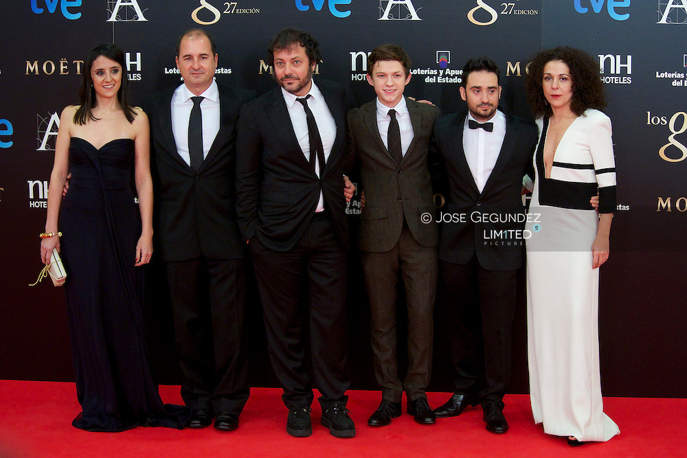 Imposible team arrives to Goya Cinema Awards 2013 ceremony, at Auditorium Hotel on February 17, 2013 in Madrid, Spain