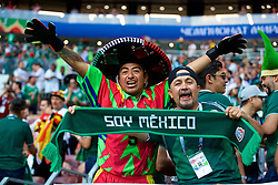 MOSCOW, RUSSIA - Sunday, June 17, 2018: Mexico supporters celebrate after beating Germany 1-0 during the FIFA World Cup Russia 2018 Group F match between Germany and Mexico at the Luzhniki Stadium. (Pic by David Rawcliffe/Propaganda)