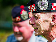 "11 NOVEMBER 2018 - KANCHANABURI, KANCHANABURI, THAILAND: Scottish veterans of the British army during the Rememberance Day ceremony at the Kanchanaburi War Cemetery in Kanchanaburi, Thailand. Kanchanaburi is the location of the infamous ""Bridge On the River Kwai"" and was known for the ""Death Railway"" built by Japan during World War II using allied, principally British, Australian and Dutch, prisoners of war as slave labor. There are 6,982 people buried in the cemetery, including 5,000 Commonwealth soldiers and 1,800 Dutch soldiers. November 11, 2018 marked the 100th anniversary of the end of World War I, celebrated as Rememberance Day in the UK and the Commonwealth and Veterans' Day in the US.   PHOTO BY JACK KURTZ"