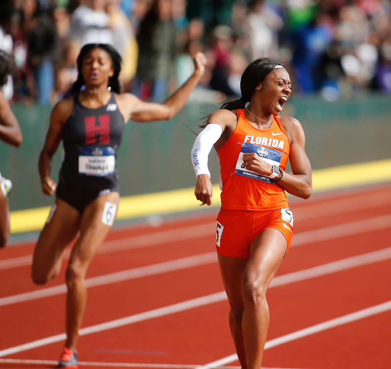 Florida's Kyra Jefferson celebrates her vicotry in the women's 200 meters in the time of 22.02 seconds on the final day of the NCAA outdoor college track and field championships in Eugene, Ore., Saturday, June 10, 2017. (AP Photo/Timothy J. Gonzalez)