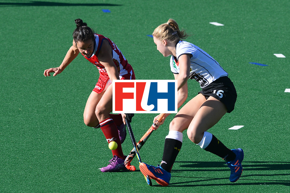 JOHANNESBURG, SOUTH AFRICA - JULY 23: Melissa Gonzalez of United States of America tackles Naomi Heyn of Germany during day 9 of the FIH Hockey World League Women's Semi Finals, final  match between United States and Germany at Wits University on July 23, 2017 in Johannesburg, South Africa. (Photo by Getty Images/Getty Images)