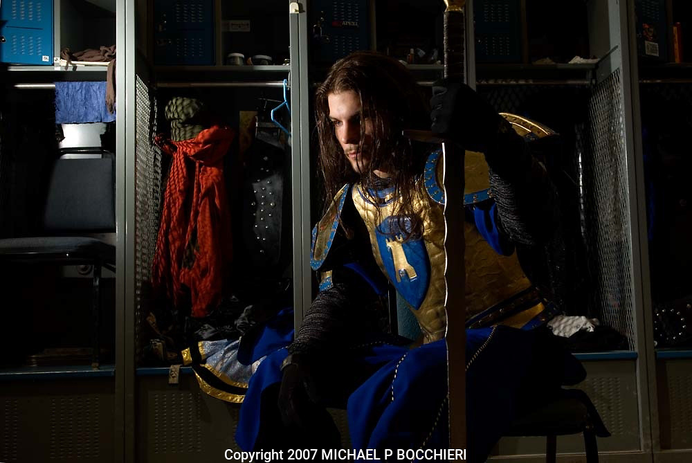 LYNDHURST, NJ - DECEMBER 11:  Andrew Thomas of Passaic, NJ poses as the blue knight where he works at Medieval Times Dinner & Tournament December 11, 2007 in LYNDHURST, NJ. (Photo by Michael Bocchieri/(201) Magazine)