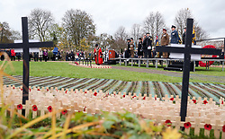 Members of the armed forces take part in the official opening of the Field of Remembrance at Royal Wootton Bassett, in the grounds of Lydiard House and Park, Swindon.