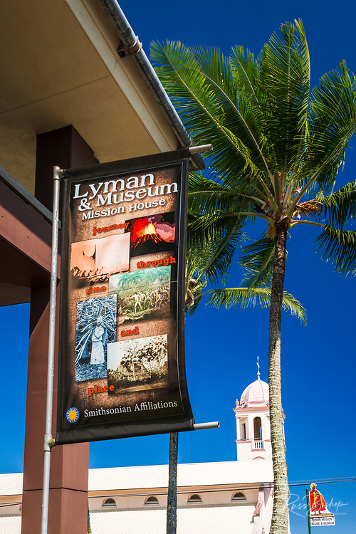 Banner at the Lyman House and Museum, Hilo, The Big Island, Hawaii USA