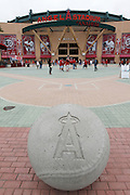 ANAHEIM, CA - MAY 22:  A team logo appears on a cement baseball positioned in this general view photo taken outside the stadium at the game between the Atlanta Braves and the Los Angeles Angels of Anaheim on Sunday, May 22, 2011 at Angel Stadium in Anaheim, California. The Angels won the game 4-1. (Photo by Paul Spinelli/MLB Photos via Getty Images)