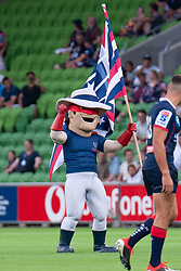 March 1, 2019 - Victoria, VIC, U.S. - MELBOURNE, AUSTRALIA - MARCH 01: The Rebels mascot dances prior to the start of the match at The Super Rugby match between Melbourne Rebels and Highlanders on March 01, 2019 at AAMI Park, VIC. (Photo by Speed Media/Icon Sportswire) (Credit Image: © Speed Media/Icon SMI via ZUMA Press)