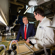 03.03.2017        <br /> Minister of State for Employment and Small Business, Pat Breen TD highlighted the growth potential in the aerospace and aviation industries in the Mid West during a recent visit to the University of Limerick. <br /> <br /> During his visit Minister of State for Employment and Small Business, Pat Breen TD was taken on tour of the Aeronautical labs at the Bernal Institute and was shown some materials in the labs by Gearoid Clancy, Phd Researcher Bernal Institute. Picture: Alan Place
