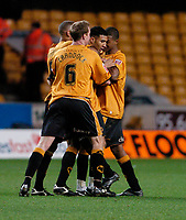 Photo: Leigh Quinnell.<br /> Wolverhampton Wanderers v Leicester City. Coca Cola Championship. 09/12/2006. Wolves Lewis Gobern (centre) is congratulated on his goal.
