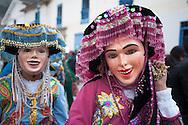 "Feast of ""Mamacha del Carmen"" of Paucartambo. members of the female group Pawcartampus before entering the church."