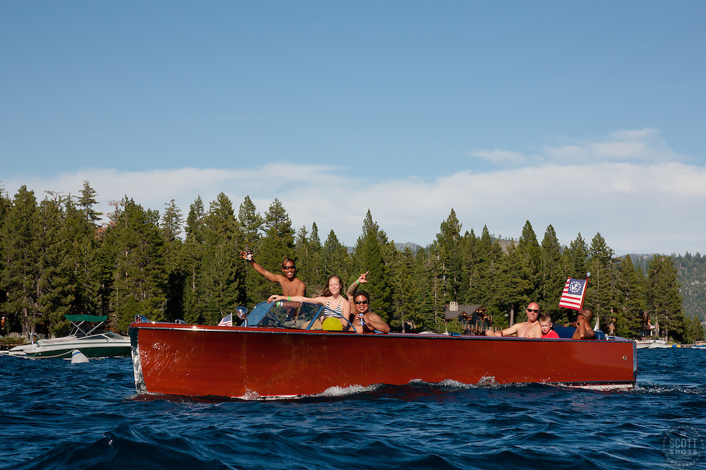 """Wooden Boat on Lake Tahoe 3"" - This classic wooden boat was photographed on Lake Tahoe during the 2011 Concours d'Elegance."