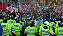 © under license to London News Pictures. 9/12/2010. On the day that MPs vote on tuition fees, 1000s demonstrated in London against a proposed rise in fees and cuts in support. Photo credit should read Fuat Akyuz/London News Picture