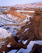 Desert Canyon, Desert, Canyon, Sandstone, Rock, Red, Cliffs, Winter, Snow, Capitol Reef, Capitol Reef National Park, Utah