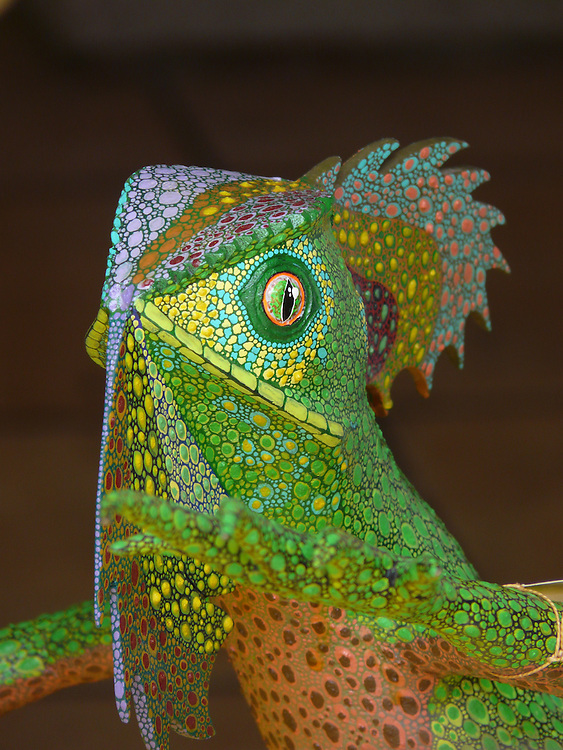 EN&gt; A colorful wooden iguana sculpture | <br /> SP&gt; Una colorida iguana de madera