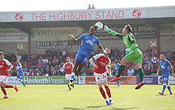 Ivan Toney of Peterborough United challenges for the ball with Alex Cairns of Fleetwood Town - Mandatory by-line: Joe Dent/JMP - 19/04/2019 - FOOTBALL - Highbury Stadium - Fleetwood, England - Fleetwood Town v Peterborough United - Sky Bet League One